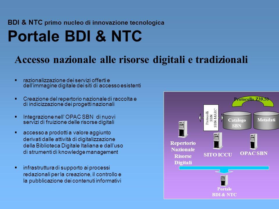 BDI & NTC primo nucleo di innovazione tecnologica Portale BDI & NTC razionalizzazione dei servizi offerti e dellimmagine digitale dei siti di accesso