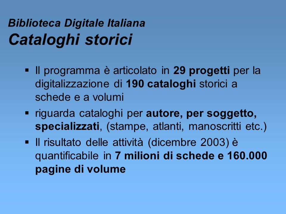 Biblioteca Digitale Italiana Cataloghi storici Il programma è articolato in 29 progetti per la digitalizzazione di 190 cataloghi storici a schede e a