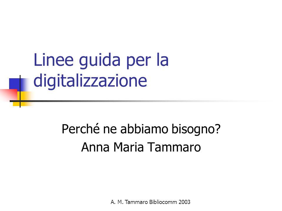 A. M. Tammaro Bibliocomm 2003 Linee guida per la digitalizzazione Perché ne abbiamo bisogno.
