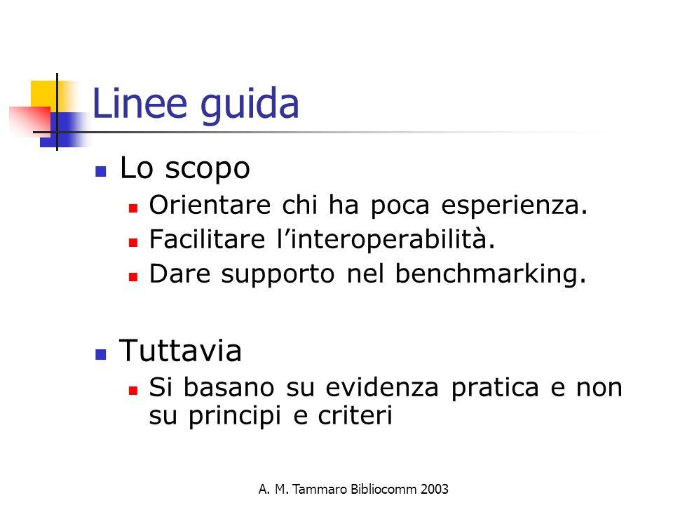 A. M. Tammaro Bibliocomm 2003 Linee guida Lo scopo Orientare chi ha poca esperienza.