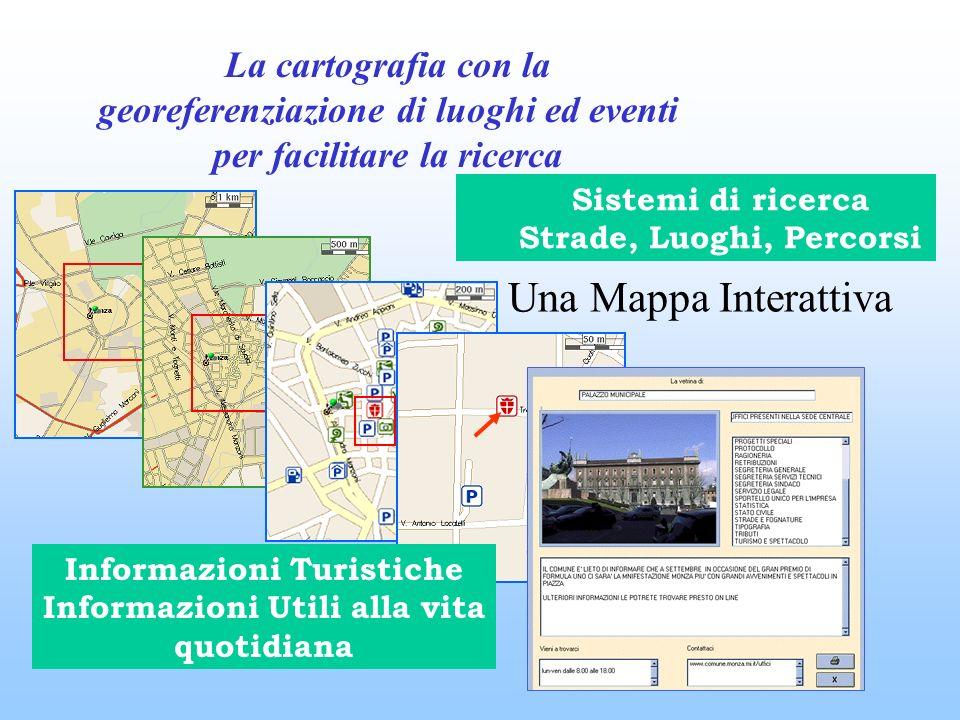 Una Mappa Interattiva Sistemi di ricerca Strade, Luoghi, Percorsi Informazioni Turistiche Informazioni Utili alla vita quotidiana La cartografia con la georeferenziazione di luoghi ed eventi per facilitare la ricerca