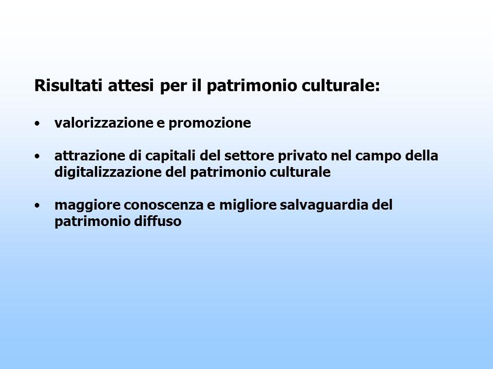Risultati attesi per il patrimonio culturale: valorizzazione e promozione attrazione di capitali del settore privato nel campo della digitalizzazione del patrimonio culturale maggiore conoscenza e migliore salvaguardia del patrimonio diffuso