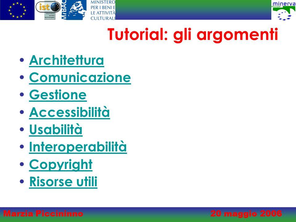 Marzia Piccininno20 maggio 2006 Tutorial: gli argomenti Architettura Comunicazione Gestione Accessibilità Usabilità Interoperabilità Copyright Risorse utili