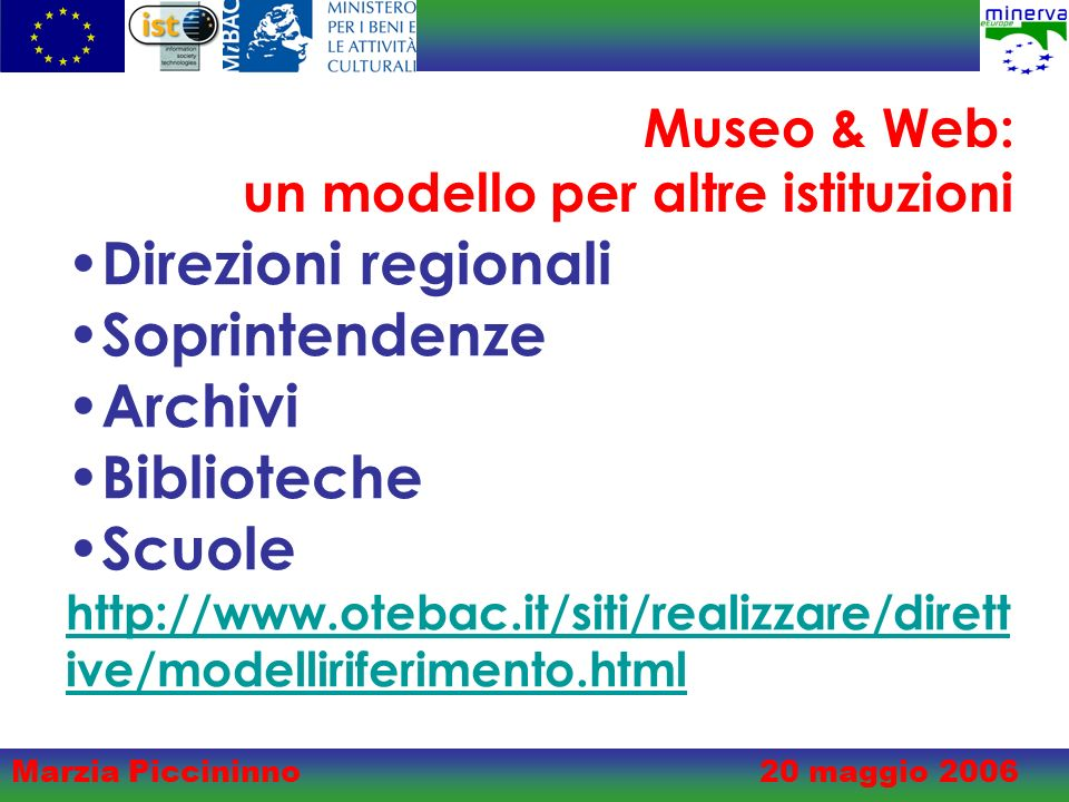 Marzia Piccininno20 maggio 2006 Museo & Web: un modello per altre istituzioni Direzioni regionali Soprintendenze Archivi Biblioteche Scuole http://www.otebac.it/siti/realizzare/dirett ive/modelliriferimento.html