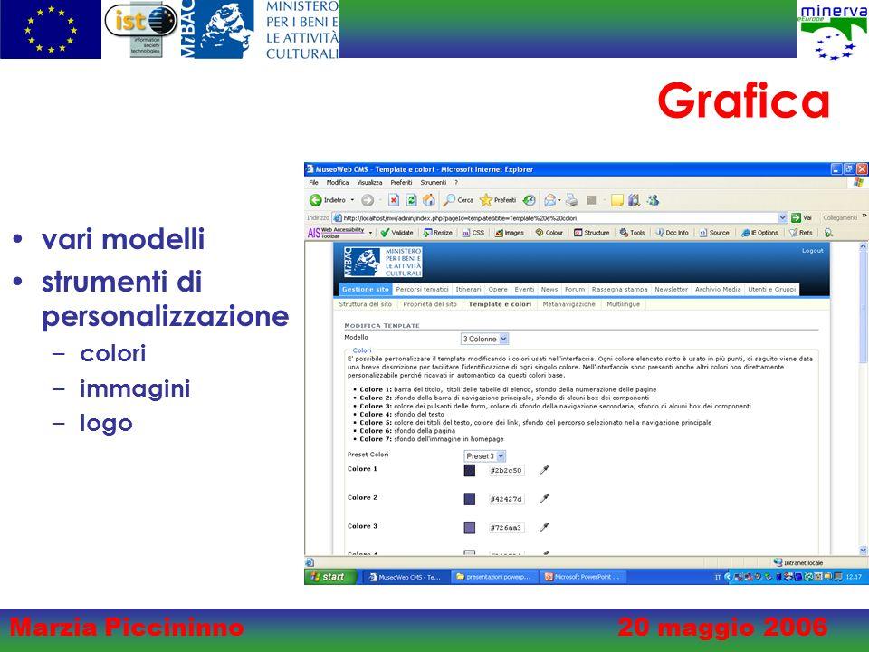 Marzia Piccininno20 maggio 2006 Grafica vari modelli strumenti di personalizzazione – colori – immagini – logo