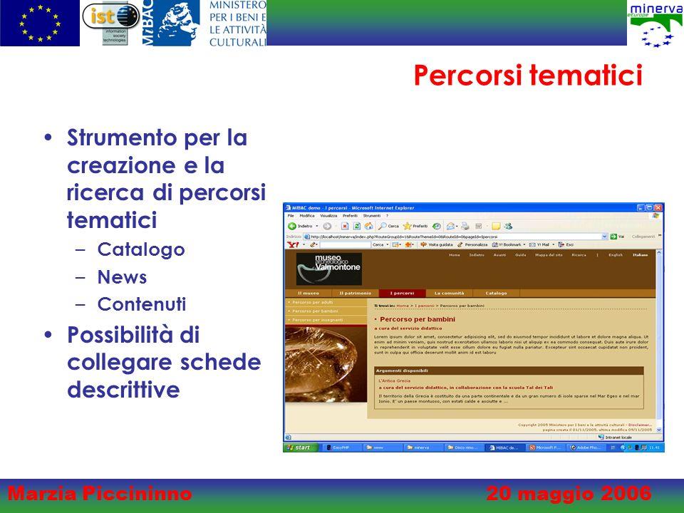 Marzia Piccininno20 maggio 2006 Percorsi tematici Strumento per la creazione e la ricerca di percorsi tematici – Catalogo – News – Contenuti Possibilità di collegare schede descrittive