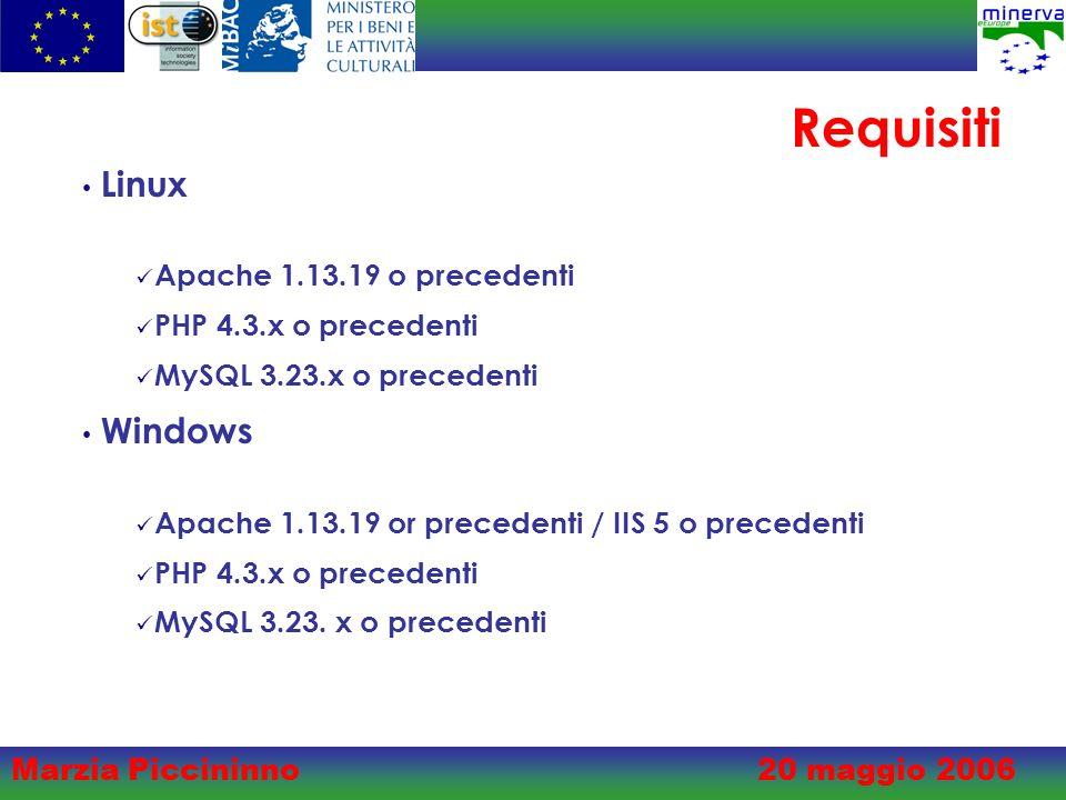 Marzia Piccininno20 maggio 2006 Requisiti Linux Apache 1.13.19 o precedenti PHP 4.3.x o precedenti MySQL 3.23.x o precedenti Windows Apache 1.13.19 or precedenti / IIS 5 o precedenti PHP 4.3.x o precedenti MySQL 3.23.