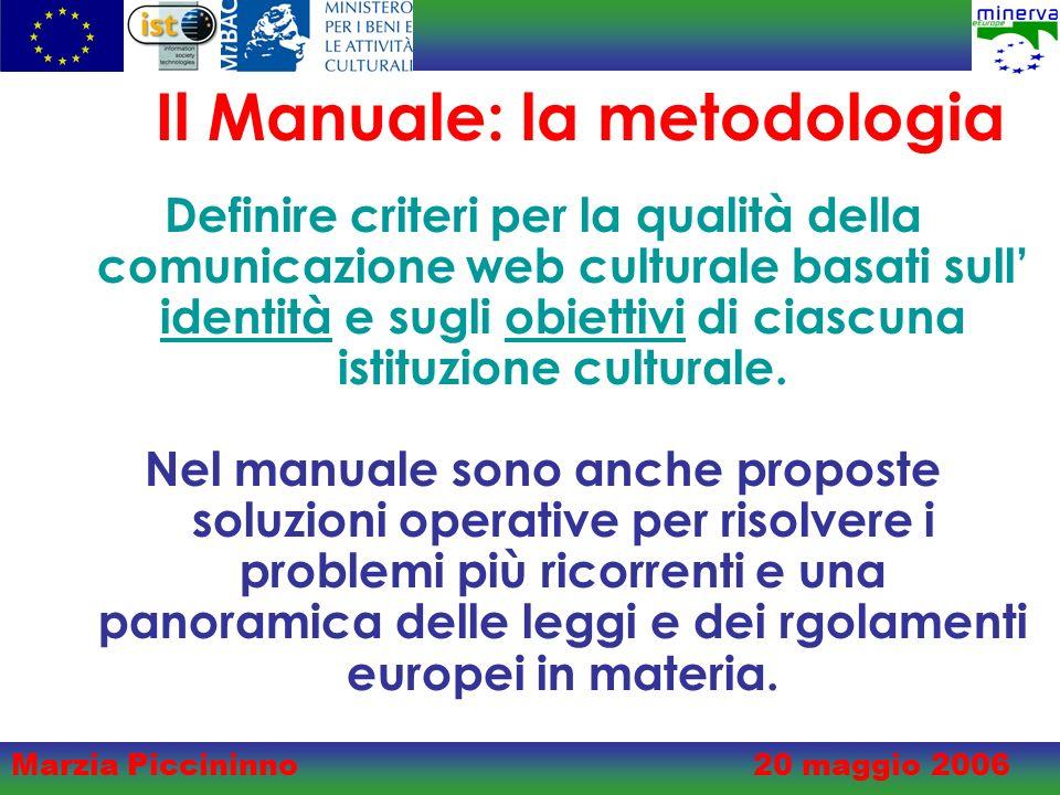 Marzia Piccininno20 maggio 2006 Il Manuale: la metodologia Definire criteri per la qualità della comunicazione web culturale basati sull identità e sugli obiettivi di ciascuna istituzione culturale.