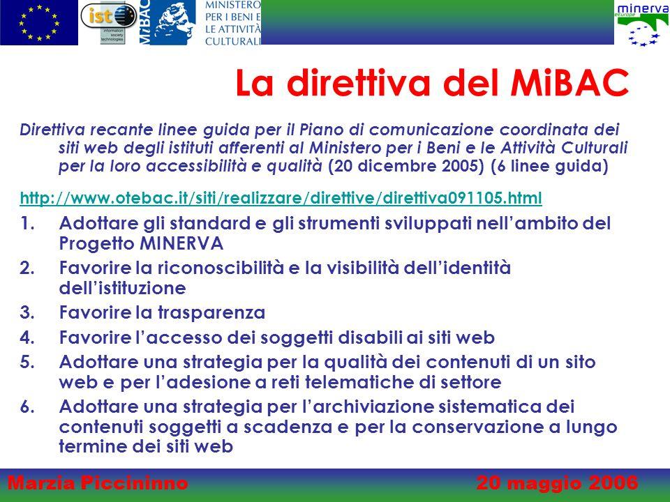 Marzia Piccininno20 maggio 2006 La direttiva del MiBAC Direttiva recante linee guida per il Piano di comunicazione coordinata dei siti web degli istituti afferenti al Ministero per i Beni e le Attività Culturali per la loro accessibilità e qualità (20 dicembre 2005) (6 linee guida) http://www.otebac.it/siti/realizzare/direttive/direttiva091105.html 1.Adottare gli standard e gli strumenti sviluppati nellambito del Progetto MINERVA 2.Favorire la riconoscibilità e la visibilità dellidentità dellistituzione 3.Favorire la trasparenza 4.Favorire laccesso dei soggetti disabili ai siti web 5.Adottare una strategia per la qualità dei contenuti di un sito web e per ladesione a reti telematiche di settore 6.Adottare una strategia per larchiviazione sistematica dei contenuti soggetti a scadenza e per la conservazione a lungo termine dei siti web