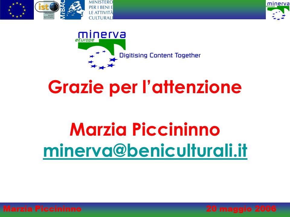 Marzia Piccininno20 maggio 2006 Grazie per lattenzione Marzia Piccininno minerva@beniculturali.it minerva@beniculturali.it