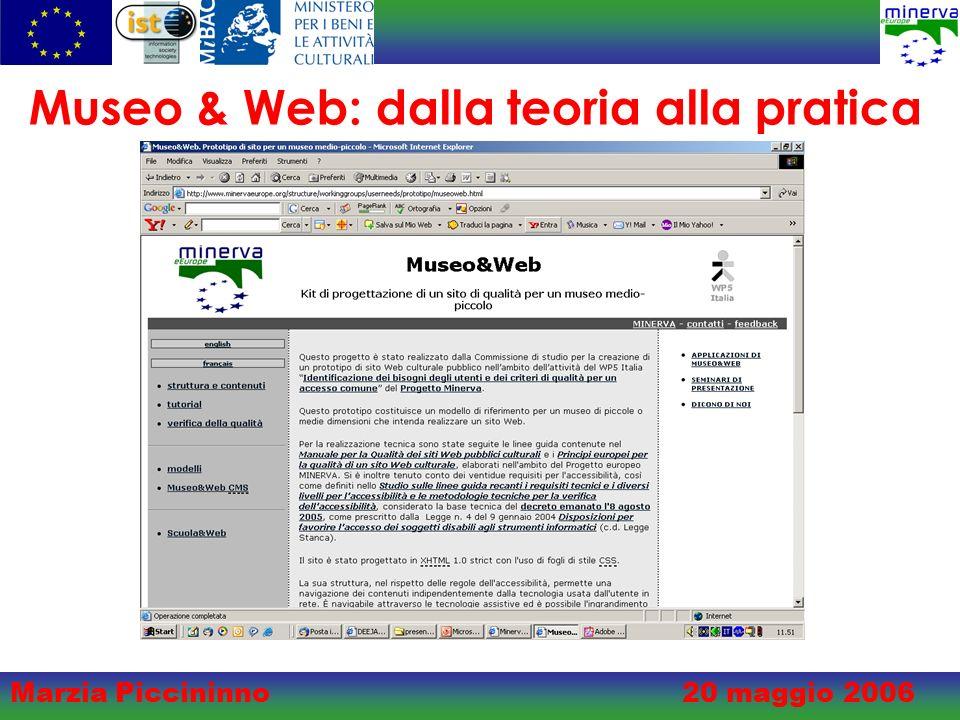 Marzia Piccininno20 maggio 2006 Museo & Web: dalla teoria alla pratica