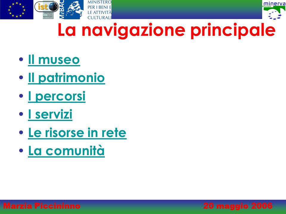 Marzia Piccininno20 maggio 2006 La navigazione principale Il museo Il patrimonio I percorsi I servizi Le risorse in rete La comunità