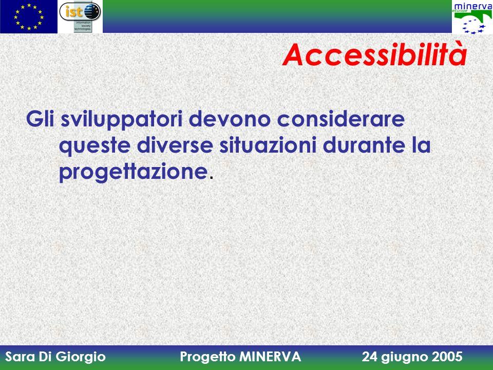 Sara Di Giorgio Progetto MINERVA 24 giugno 2005 Accessibilità Gli sviluppatori devono considerare queste diverse situazioni durante la progettazione.