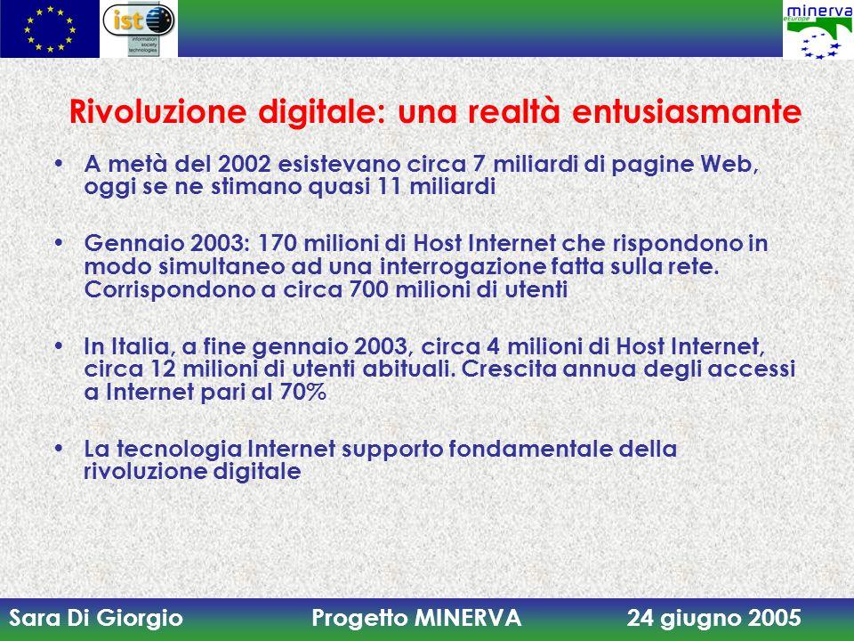 Sara Di Giorgio Progetto MINERVA 24 giugno 2005 Rivoluzione digitale: una realtà entusiasmante A metà del 2002 esistevano circa 7 miliardi di pagine Web, oggi se ne stimano quasi 11 miliardi Gennaio 2003: 170 milioni di Host Internet che rispondono in modo simultaneo ad una interrogazione fatta sulla rete.