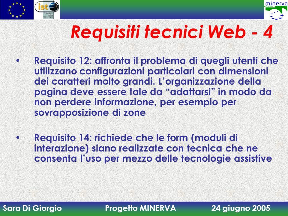 Sara Di Giorgio Progetto MINERVA 24 giugno 2005 Requisiti tecnici Web - 4 Requisito 12: affronta il problema di quegli utenti che utilizzano configurazioni particolari con dimensioni dei caratteri molto grandi.