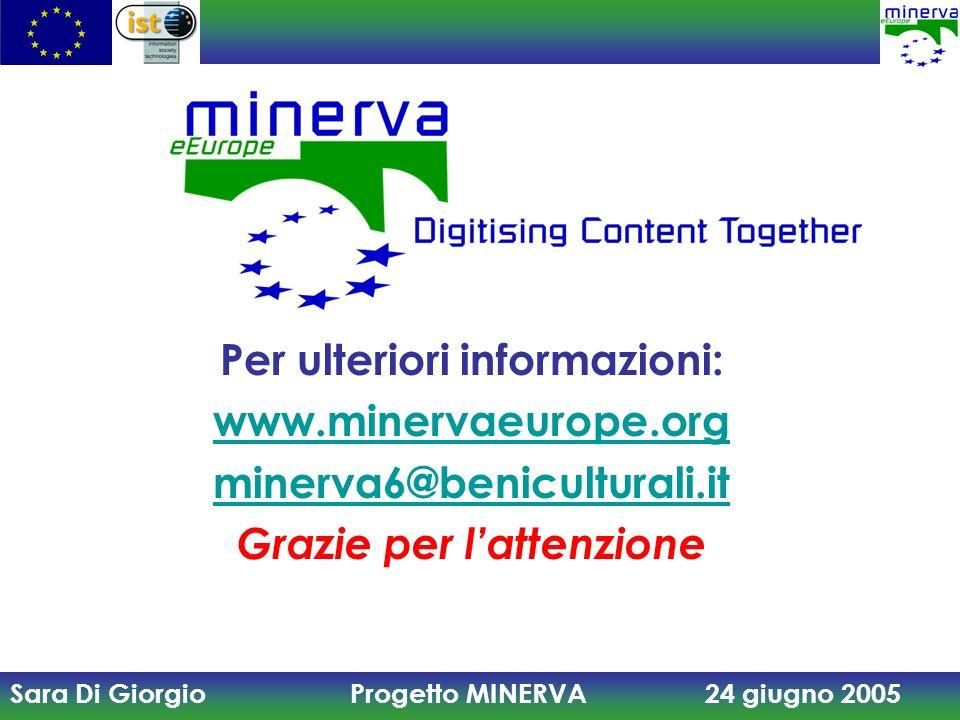 Sara Di Giorgio Progetto MINERVA 24 giugno 2005 Per ulteriori informazioni: www.minervaeurope.org minerva6@beniculturali.it Grazie per lattenzione