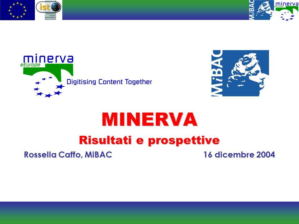 MINERVA Risultati e prospettive Rossella Caffo, MiBAC16 dicembre 2004