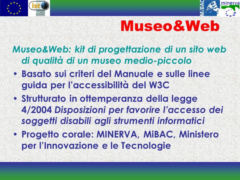 Museo&Web Museo&Web: kit di progettazione di un sito web di qualità di un museo medio-piccolo Basato sui criteri del Manuale e sulle linee guida per laccessibilità del W3C Strutturato in ottemperanza della legge 4/2004 Disposizioni per favorire laccesso dei soggetti disabili agli strumenti informatici Progetto corale: MINERVA, MiBAC, Ministero per lInnovazione e le Tecnologie