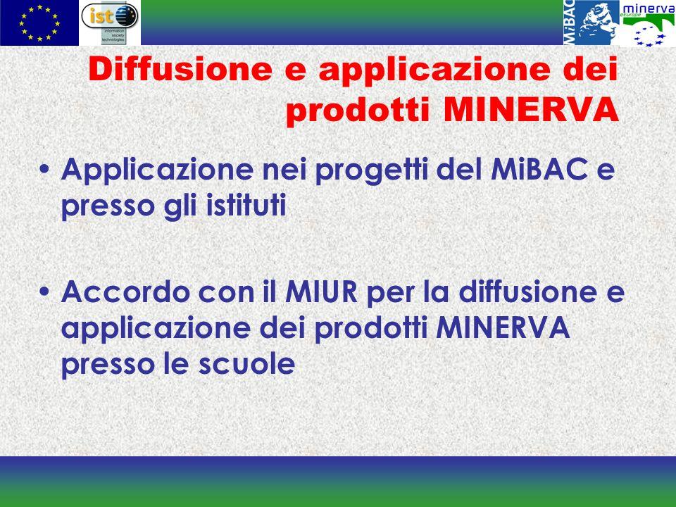 Diffusione e applicazione dei prodotti MINERVA Applicazione nei progetti del MiBAC e presso gli istituti Accordo con il MIUR per la diffusione e applicazione dei prodotti MINERVA presso le scuole
