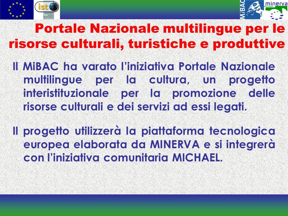 Portale Nazionale multilingue per le risorse culturali, turistiche e produttive Il MiBAC ha varato liniziativa Portale Nazionale multilingue per la cultura, un progetto interistituzionale per la promozione delle risorse culturali e dei servizi ad essi legati.