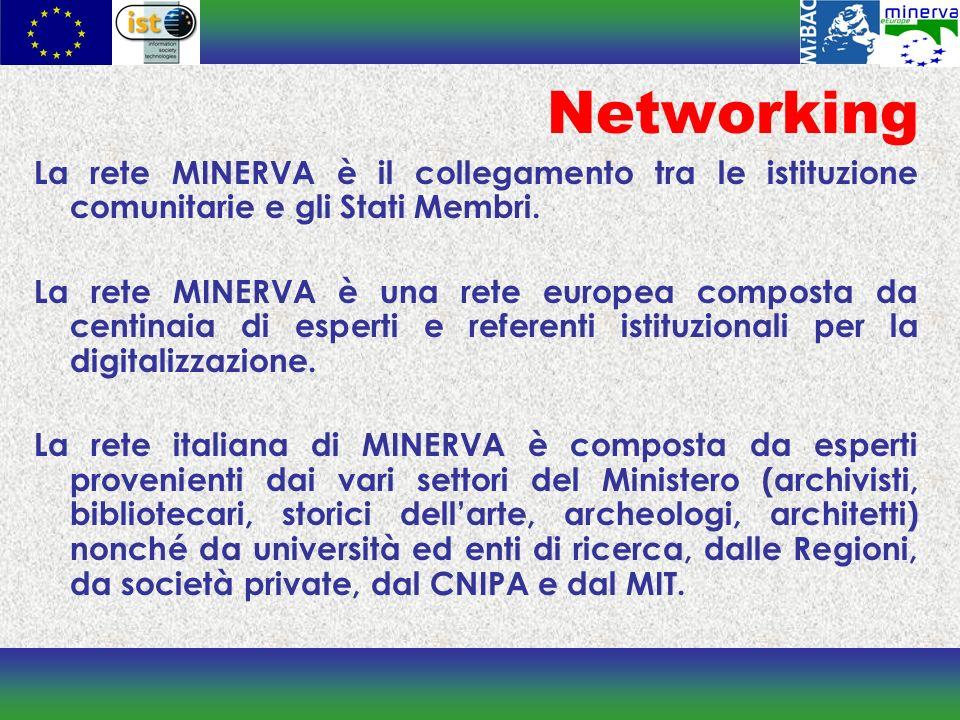 Networking La rete MINERVA è il collegamento tra le istituzione comunitarie e gli Stati Membri.