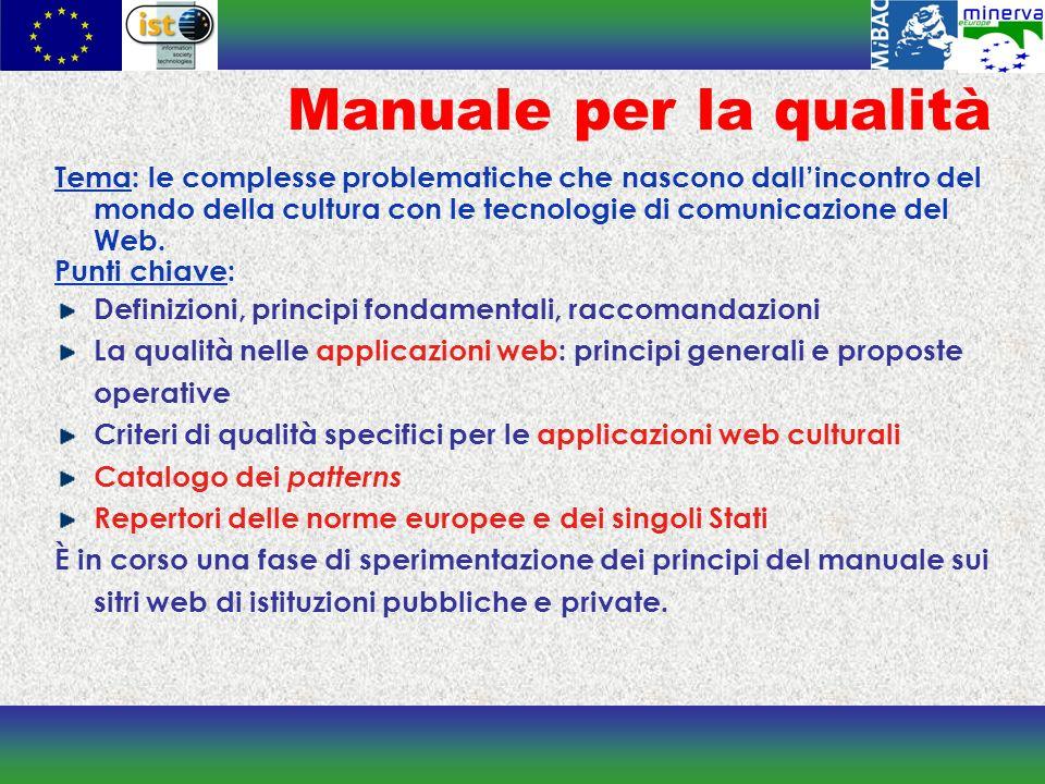 Manuale per la qualità Tema: le complesse problematiche che nascono dallincontro del mondo della cultura con le tecnologie di comunicazione del Web.
