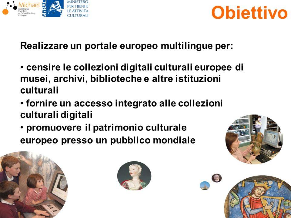 Rossella Caffo, 4 dicembre 2006 Realizzare un portale europeo multilingue per: censire le collezioni digitali culturali europee di musei, archivi, bib