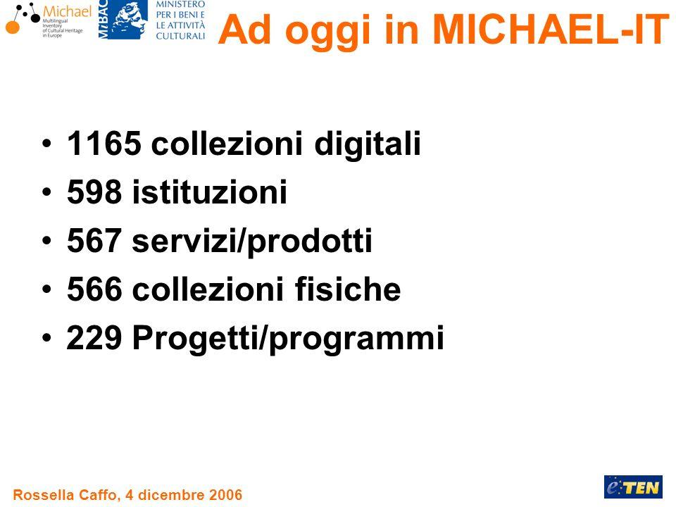 Rossella Caffo, 4 dicembre 2006 1165 collezioni digitali 598 istituzioni 567 servizi/prodotti 566 collezioni fisiche 229 Progetti/programmi Ad oggi in MICHAEL-IT