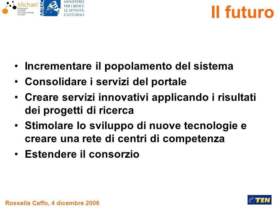 Rossella Caffo, 4 dicembre 2006 Il futuro Incrementare il popolamento del sistema Consolidare i servizi del portale Creare servizi innovativi applicando i risultati dei progetti di ricerca Stimolare lo sviluppo di nuove tecnologie e creare una rete di centri di competenza Estendere il consorzio