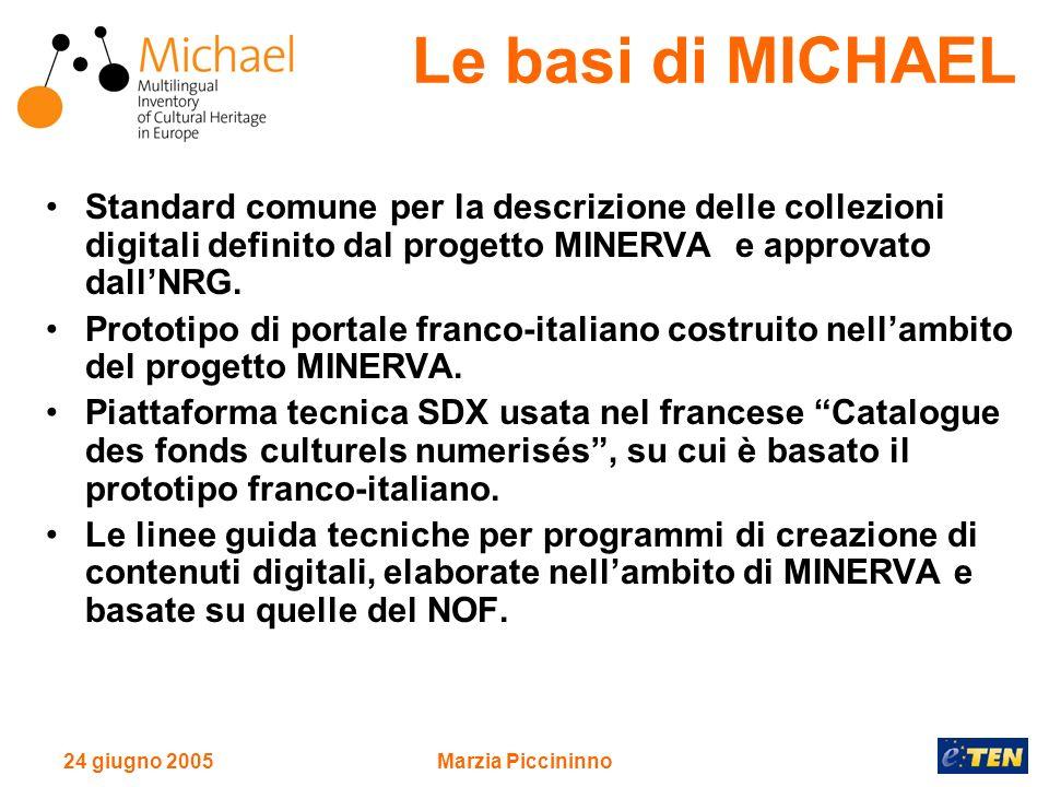 24 giugno 2005Marzia Piccininno MICHAEL utilizza le raccomandazioni e le linee guida elaborate da MINERVA e rivolge la massima attenzione allimplementazione degli standard internazionali.