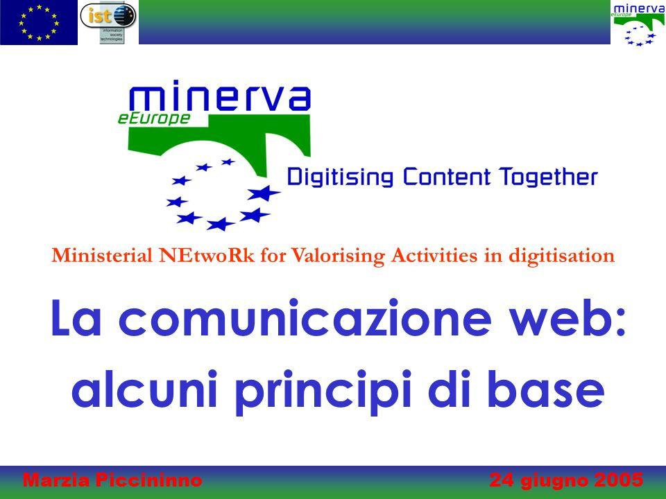 Marzia Piccininno 24 giugno 2005 La comunicazione web: alcuni principi di base Ministerial NEtwoRk for Valorising Activities in digitisation