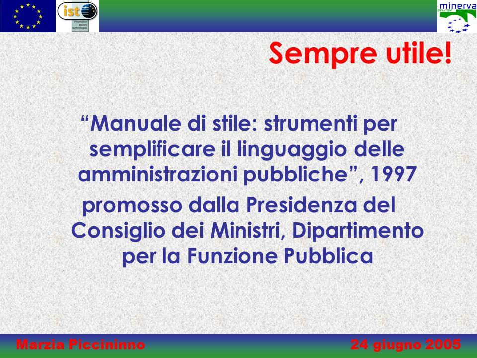 Marzia Piccininno 24 giugno 2005 Sempre utile.