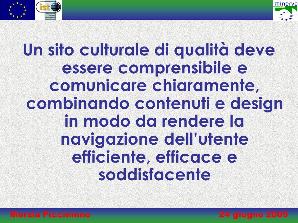 Marzia Piccininno 24 giugno 2005 Un sito culturale di qualità deve essere comprensibile e comunicare chiaramente, combinando contenuti e design in modo da rendere la navigazione dellutente efficiente, efficace e soddisfacente