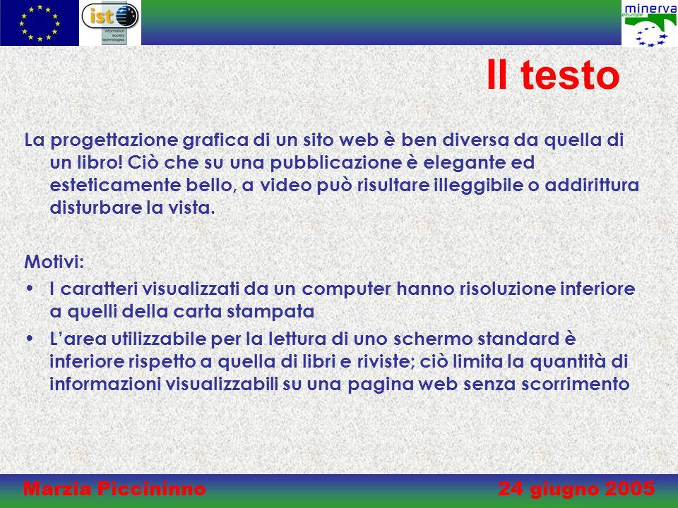Marzia Piccininno 24 giugno 2005 Il testo La progettazione grafica di un sito web è ben diversa da quella di un libro.