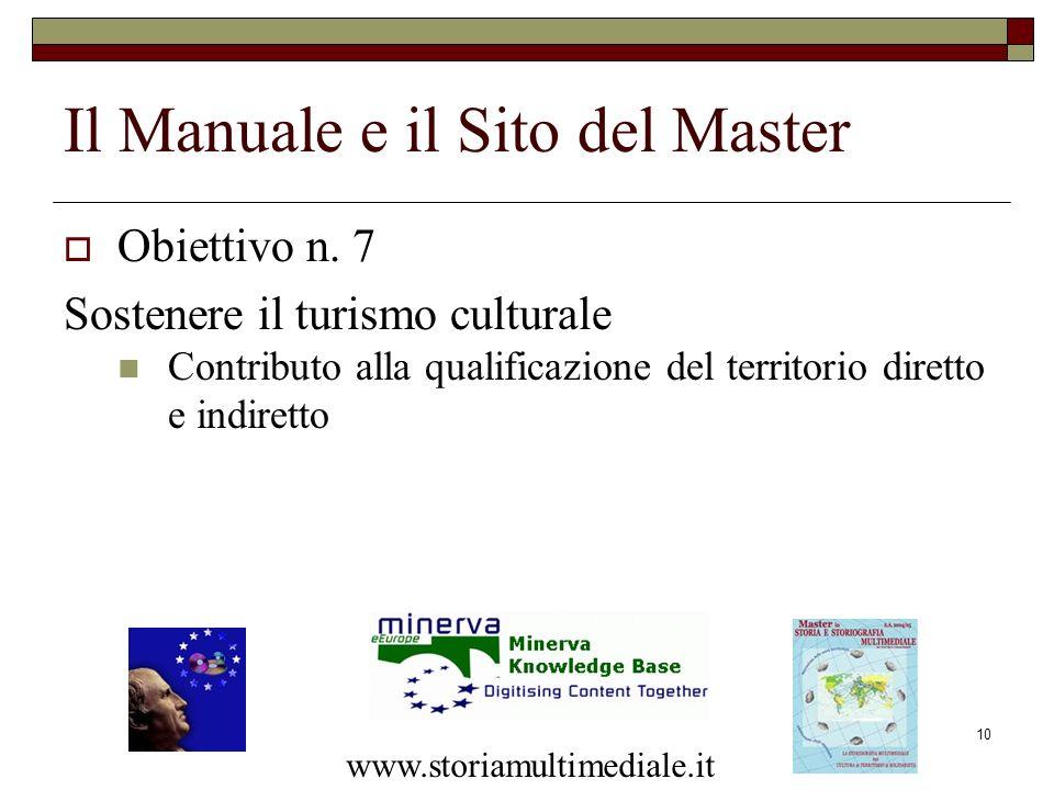 10 Il Manuale e il Sito del Master Obiettivo n. 7 Sostenere il turismo culturale Contributo alla qualificazione del territorio diretto e indiretto www
