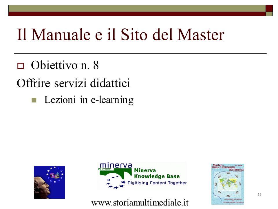 11 Il Manuale e il Sito del Master Obiettivo n. 8 Offrire servizi didattici Lezioni in e-learning www.storiamultimediale.it