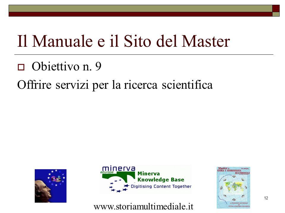 12 Obiettivo n. 9 Offrire servizi per la ricerca scientifica Il Manuale e il Sito del Master www.storiamultimediale.it