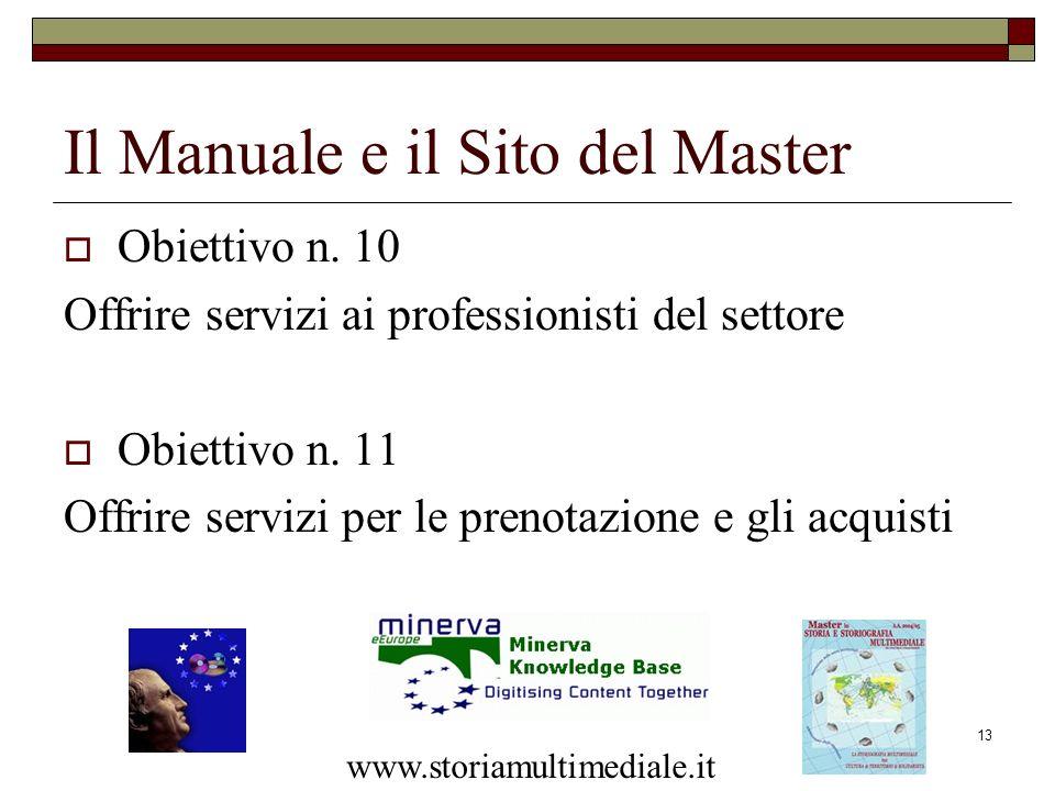 13 Obiettivo n. 10 Offrire servizi ai professionisti del settore Obiettivo n. 11 Offrire servizi per le prenotazione e gli acquisti Il Manuale e il Si