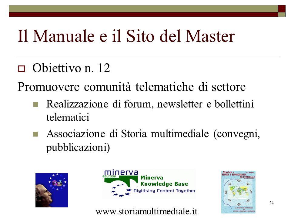 14 Il Manuale e il Sito del Master Obiettivo n. 12 Promuovere comunità telematiche di settore Realizzazione di forum, newsletter e bollettini telemati