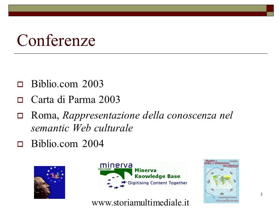 3 Conferenze Biblio.com 2003 Carta di Parma 2003 Roma, Rappresentazione della conoscenza nel semantic Web culturale Biblio.com 2004 www.storiamultimed