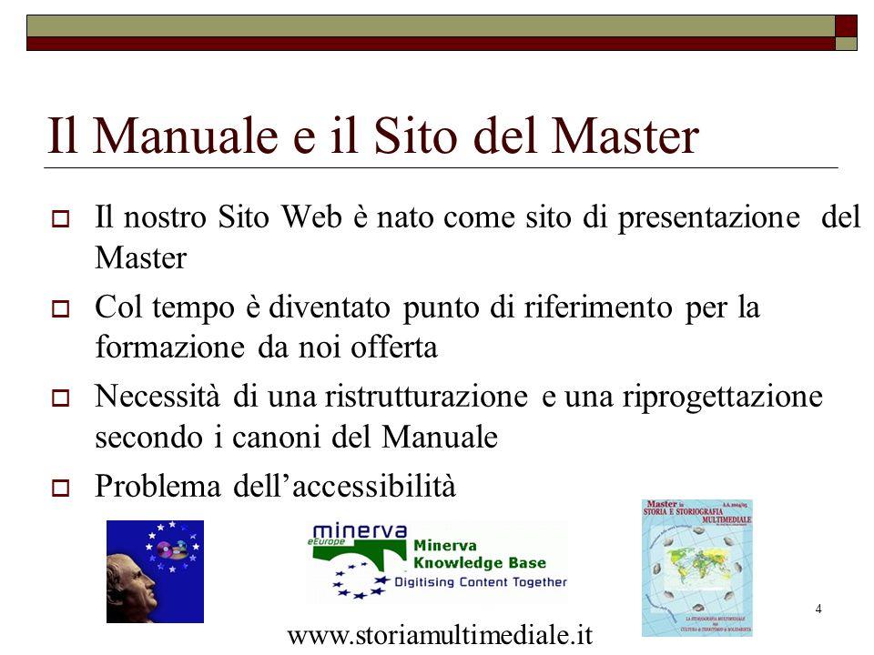 4 Il Manuale e il Sito del Master Il nostro Sito Web è nato come sito di presentazione del Master Col tempo è diventato punto di riferimento per la fo