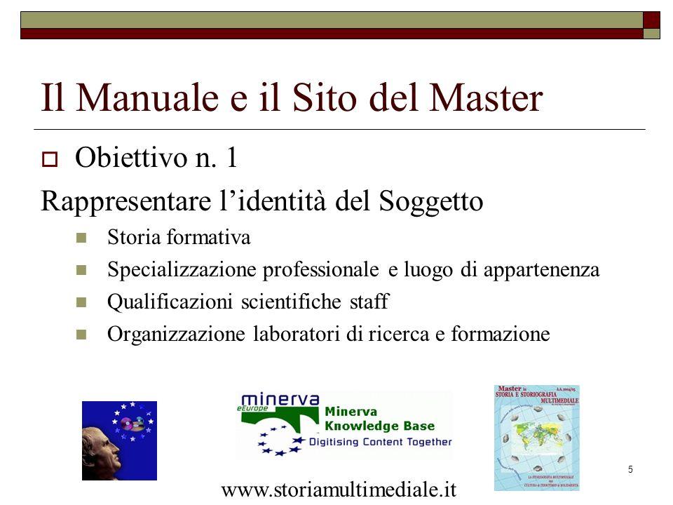 5 Il Manuale e il Sito del Master Obiettivo n. 1 Rappresentare lidentità del Soggetto Storia formativa Specializzazione professionale e luogo di appar