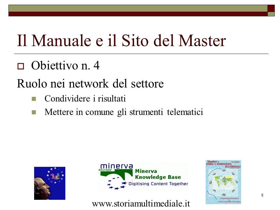 8 Il Manuale e il Sito del Master Obiettivo n. 4 Ruolo nei network del settore Condividere i risultati Mettere in comune gli strumenti telematici www.