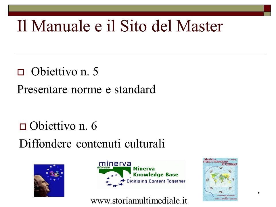 9 Il Manuale e il Sito del Master Obiettivo n. 5 Presentare norme e standard www.storiamultimediale.it Obiettivo n. 6 Diffondere contenuti culturali