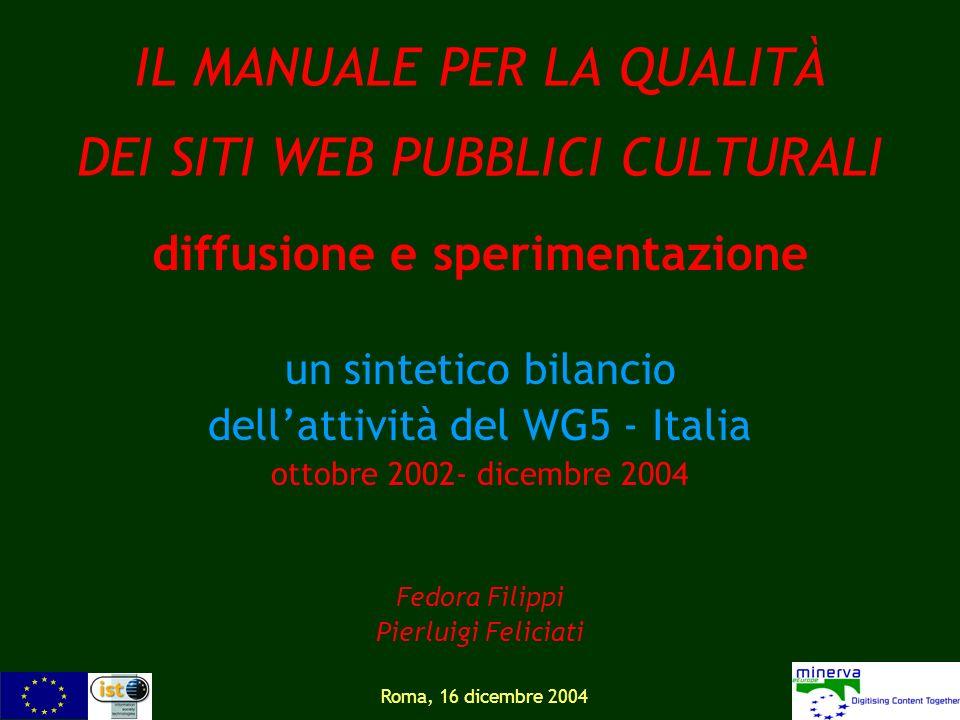 Roma, 16 dicembre 2004 IL MANUALE PER LA QUALITÀ DEI SITI WEB PUBBLICI CULTURALI diffusione e sperimentazione un sintetico bilancio dellattività del W