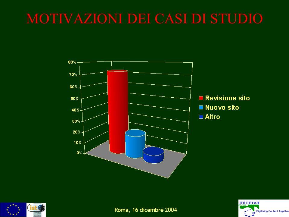 Roma, 16 dicembre 2004 MOTIVAZIONI DEI CASI DI STUDIO