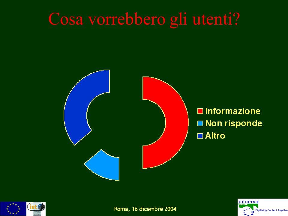 Roma, 16 dicembre 2004 Cosa vorrebbero gli utenti?