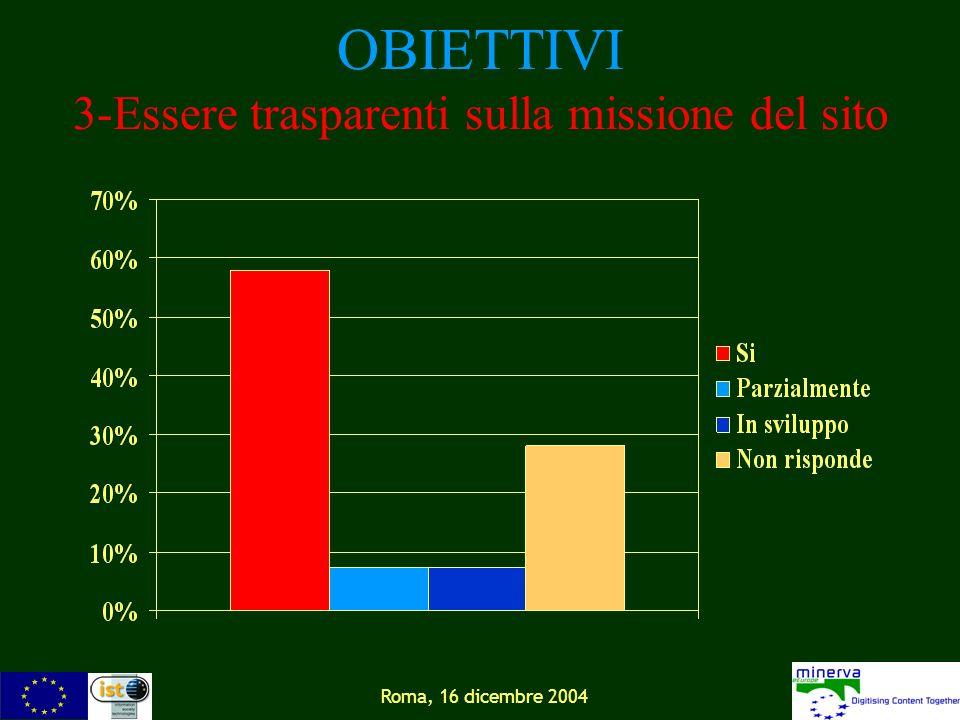 Roma, 16 dicembre 2004 OBIETTIVI 3-Essere trasparenti sulla missione del sito