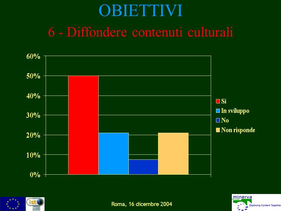 Roma, 16 dicembre 2004 OBIETTIVI 6 - Diffondere contenuti culturali