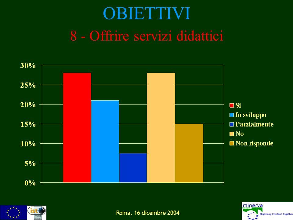 Roma, 16 dicembre 2004 OBIETTIVI 8 - Offrire servizi didattici